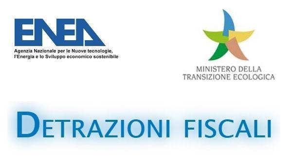 Loghi istituzionali di ENEA e Ministero della Transizione Ecologica - detrazioni fiscali della