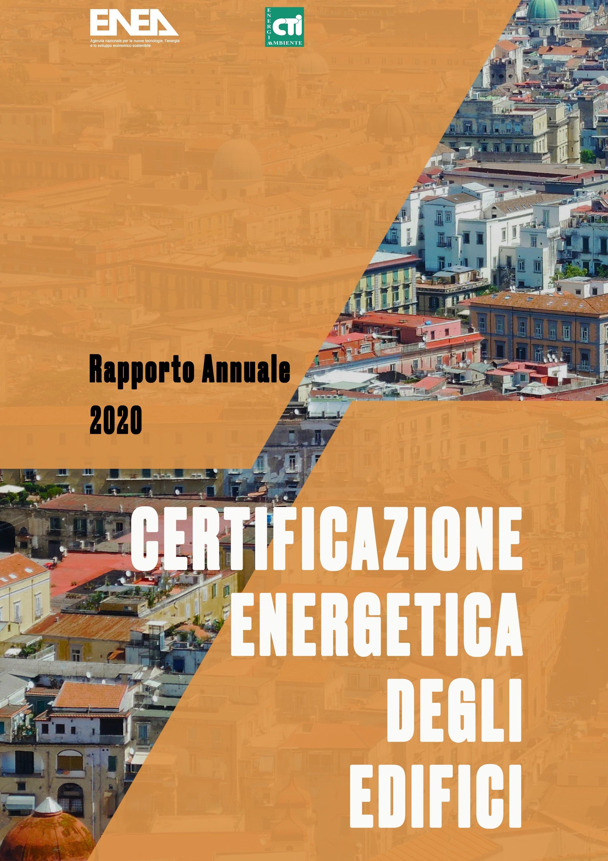frontespizio rapporto annuale 2020 su CERTIFICAZIONE ENERGETICA DEGLI EDIFICI