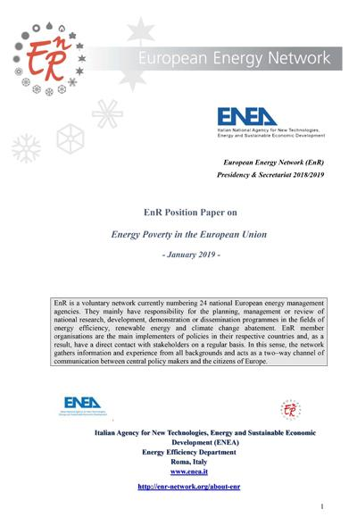 EnR Position Paper on Energy Poverty in the European Union - January 2019