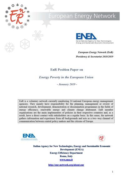 EnR Position Paper onEnergy Poverty in the European Union